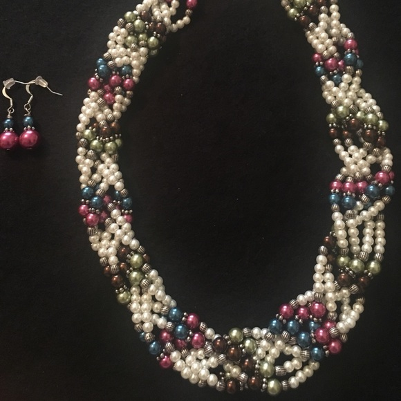 Jewelry - Braided Pearl Necklace & Earrings Set